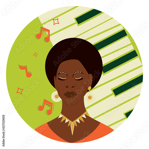 Photo Black history month concept. Famous Afro American singer,