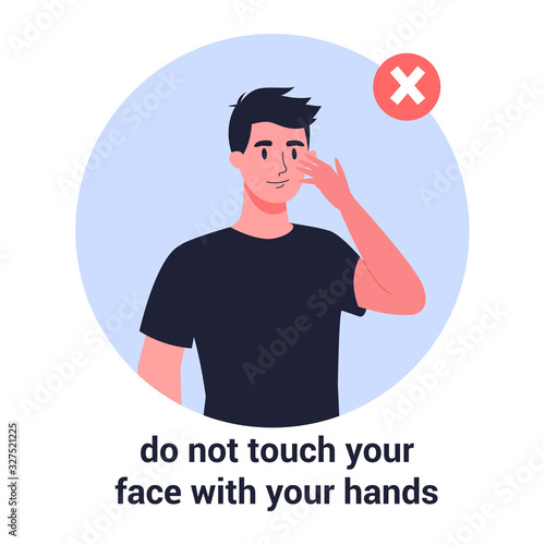 Man touch his face with his hand Canvas Print