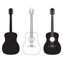 Acoustic Guitar Set. Music Ins...