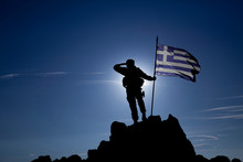 Soldier With The Greek Flag