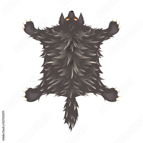crucified shaggy grey wolf skin with head, paws and tail, interior element, colo Wallpaper Mural