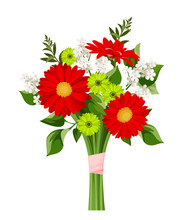 Vector Bouquet Of Red, Green And White Flowers Isolated On A White Background.