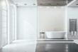 Leinwandbild Motiv Contemporary bathroom interior room with decorative objects and city viwe.