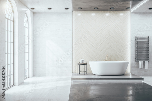 Obraz Contemporary bathroom interior room with decorative objects and city viwe. - fototapety do salonu