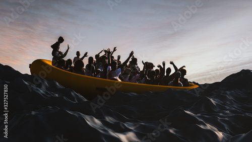 Photo Boat with refugees floating in the sea