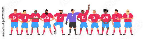 Fotografie, Obraz football team soccer players standing together vector illustration