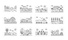 Agricultural Icons Black And White Linear Set