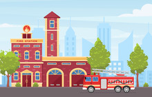 Fire Station Building Exterior Flat Vector Illustration