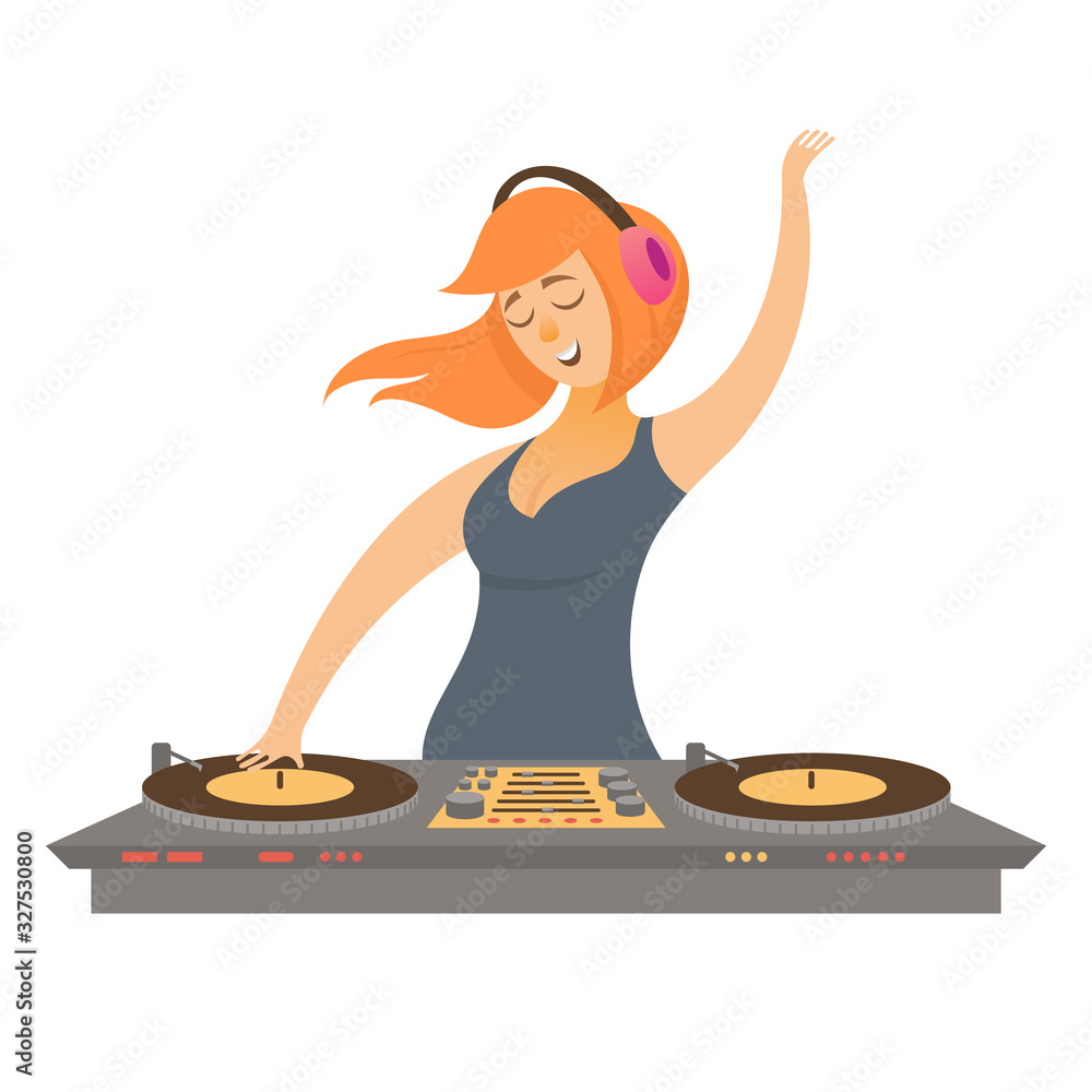 Fototapeta DJ play and mixing music. Female character in cartoon style isolated on white background.