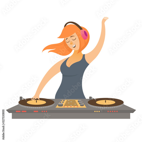 Fototapeta DJ play and mixing music. Female character in cartoon style isolated on white background. obraz