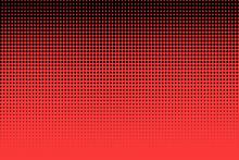 Polka Dot Pop Art Halftone Pattern. Red Dots On Black Background