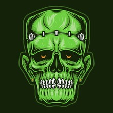 Skull Frankenstein Head Vector Logo