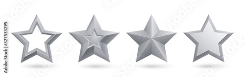 Fototapeta Gwiazdki  silver-stars-realistic-metal-golden-stars-isolated-for-rating-and-holiday-decoration-vector