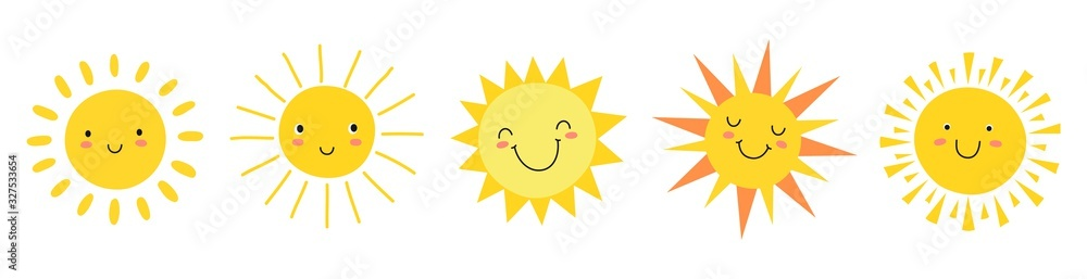 Fototapeta Cute suns. Sunshine emoji, cute smiling faces. Summer sunlight emoticons and morning sunny weather. Isolated funny smileys vector icons. Sunshine and sunny emoji, yellow face emoticon illustration