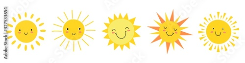 Fototapeta Cute suns. Sunshine emoji, cute smiling faces. Summer sunlight emoticons and morning sunny weather. Isolated funny smileys vector icons. Sunshine and sunny emoji, yellow face emoticon illustration obraz