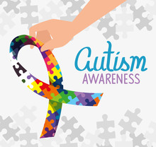 World Autism Day With Ribbon O...