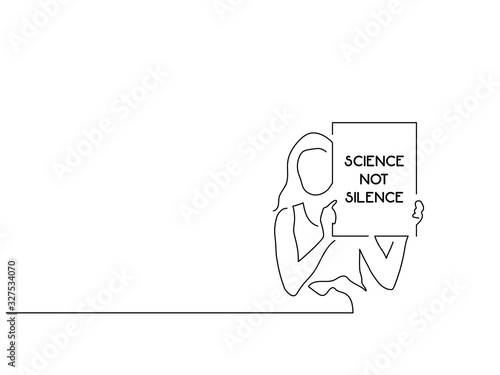 Photo Climate change activists isolated line drawing, vector illustration design