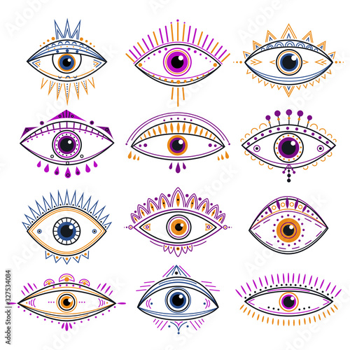 Obraz Eye of providence. Evil eyes, mystic esoteric symbols. Abstract occult signs design. Decorative alchemy and magic line tattoo vector icons. Esoteric amulet, providence mystic eye illustration - fototapety do salonu