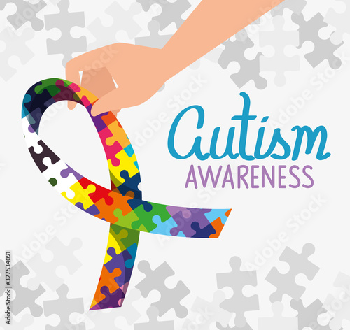 world autism day with ribbon of puzzle pieces vector illustration design Canvas Print