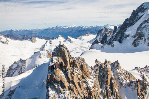 Altitude View of the aiguille du Midi and the Snowy Alps Moutains Chain
