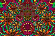Psychedelic Kaleidoscope Fractal Art Design