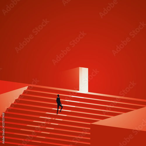 Fototapeta Business career growth vector concept. Symbol of promotion, new opportunity and challenge. obraz