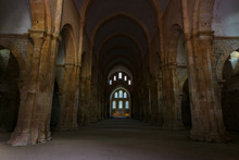 Ancient Building Of Medieval French Abbey With Huge Ceiling And Windows. Abbey Of Fontenay, Burgundy, France, Europe