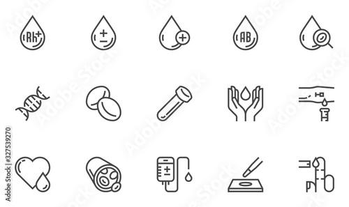 Fotomural Blood Vector Line Icons Set
