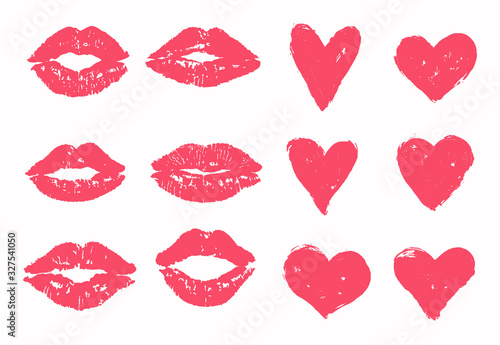 Fotografiet Trace of kiss set, heart vector pack