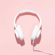Flat Lay White Headphones On M...