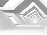 Fototapeta Perspektywa 3d - Abstract white tunnel background. 3d rendering