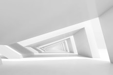 3d Empty White Endless Tunnel ...