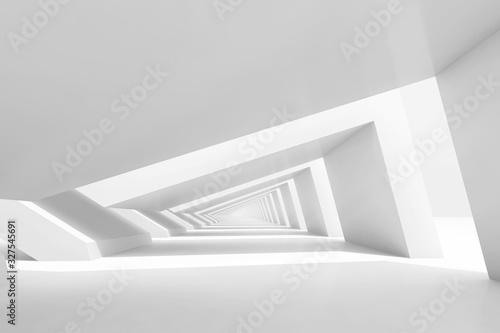 3d empty white endless tunnel interior perspective #327545691