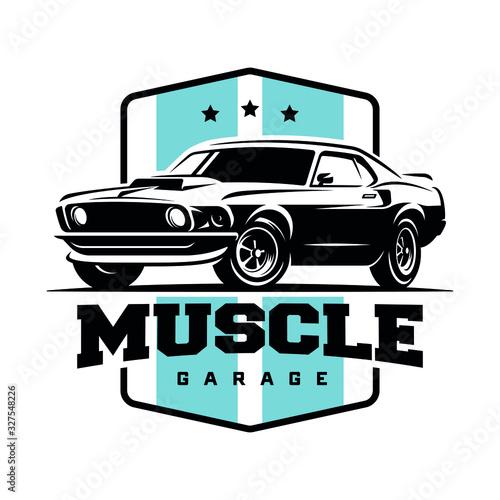 Obraz na plátně Muscle car retro logo, banner, emblem. Vintage t-shirt print