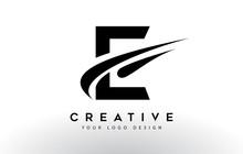 Creative E Letter Logo Design With Swoosh Icon Vector.