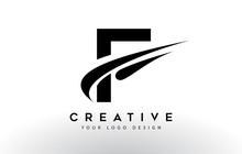 Creative F Letter Logo Design With Swoosh Icon Vector.