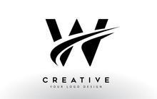Creative W Letter Logo Design With Swoosh Icon Vector.