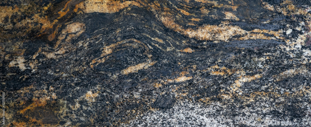 Fototapeta Brown black anthracite marble granite stone texture background banner panorama