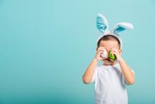 Child Boy Wearing Bunny Ears A...