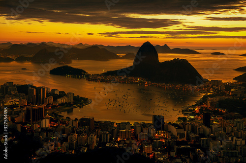 Rio de Janeiro city at sunset, Brazil Canvas Print