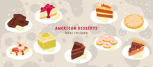 Horizontal Banner With American Desserts