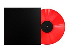Red Colored Vinyl Disc Mock Up. Vintage LP Vinyl Record With Black Cover Sleeve And Black Label Isolated On White Background. 3D Render.