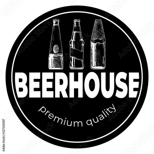 Photo Beerhouse dark round vintage label