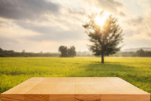 Empty Wooden Table With Rice F...