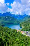 Alpsee at neuschwanstein and hohenschwangau castle - lake near Fuessen in beautiful mountain scenery of Allgaeu, Bavaria, Germany