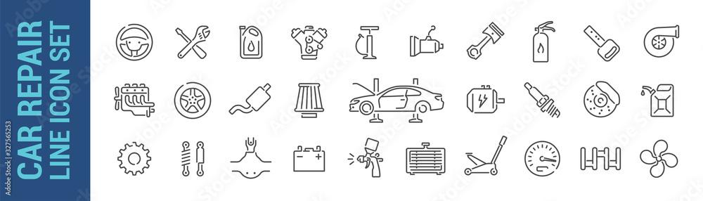 Fototapeta Car repair vector isolated line icon set. Mechanic tools & car parts