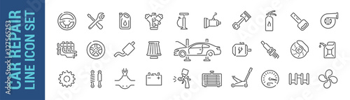 Fototapeta Car repair vector isolated line icon set