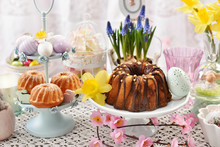 Spring Table With Easter Cakes