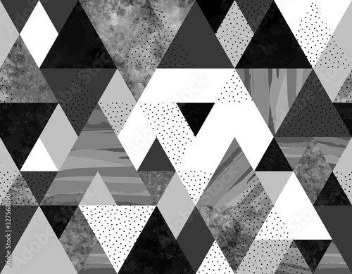 Fototapeta Seamless geometric abstract pattern with black, spotted and gray watercolor triangles on white background obraz