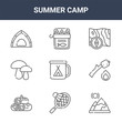 9 summer camp icons pack. trendy summer camp icons on white background. thin outline line icons such as mountain, marshmallows, canned food . summer camp icon set for web and mobile.